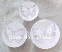 3 Pcs/Set Butterfly Fondant Biscuit Cookies Cake Decorating Plunger Cutter Tool Mould Free Shipping