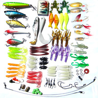 Free shipping, 100pcs/set fishing lure bait soft worm/spoon/minnow/crank/vib/popper