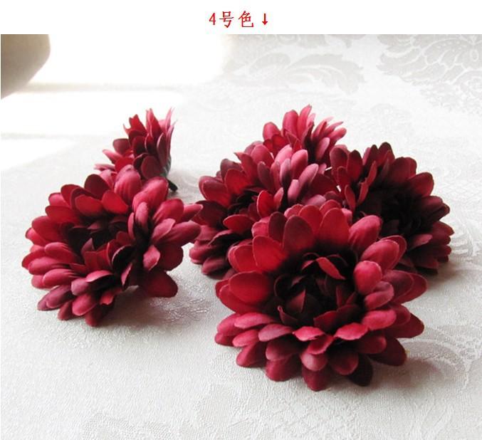 Artificial Silk Flower Head Wedding Flowers, African chrysanthemum 7cm, Wholesale 50pcs/lot Wine Red(China (Mainland))
