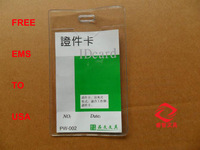 free EMS USA plastic soft waterproof ID Badge Holders PVC clear name card credit case certificate plastic vertical