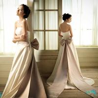 Gala 2012 big bow train satin wedding dress short trailing wedding dress bandage f2058
