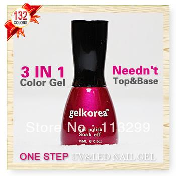 Free Shipping +Hot Sale One Step Nail Gel Polish Wholesale CNF Gelkorea 12Pcs Color Gel  15ml Soak Off Uv Led