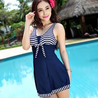 Plus size swimsuit women's one pieces swimwear dress boxer striped swimwear free shipping