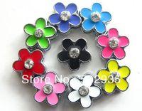 wholesale 100pcs 8mm sigle rhinestone Flower Slide Charms