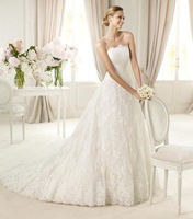 White Free shipping Applique lace Bridal Gown Wedding Dresses