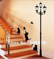 Mixed Ordered Free Shipping 50*70cm Popular Ancient Lamp Cats and Birds Wall Sticker Wall Mural Home Decor Room Kids