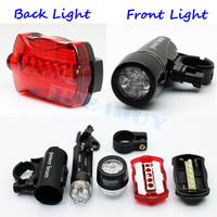 Free Shipping (1pc) BIKE TORCH LAMP FRONT REAR BRIGHT BICYCLE HEADLIGHT FLASHLIGHT SET 5 LED POWER BEAM