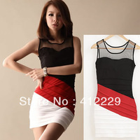 2013 lace patckwork elegant sleeveless tank evening sexy sheath night club party mini ladies women's dress