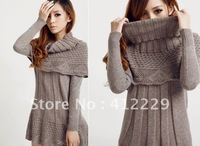 2013 solid lovely full sleeve with single shawl scarf knitwear patterns knitted sweater ladies dress