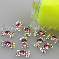 Wholesale 100pcs/lot Pink Nail Art Alloy Rhinestone Decoration Bow Tie For 3d Nail Art Tips Free Shipping