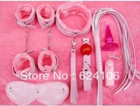 Sex products women handcuffing collar rope port plug leather whip set novelty toy  Sex bundled Set