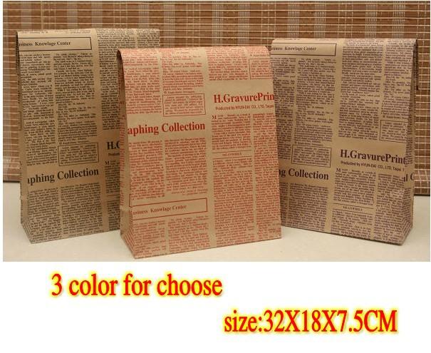 Newspaper,32X18X7.5CM, Christmas & Festival paper gift bag, Free shipping(China (Mainland))