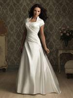 Pleated A-line Modest High Neck Bridal Gown Bride Wedding Dress Custom