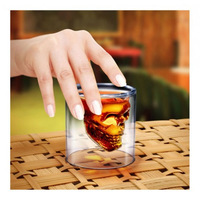 2014 Pirate doomed double layer glass cup skull cup  Free shipping