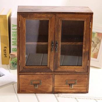 Zakka  Wood Retro Vintage Glass Drawer Storage Cabinet