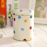Fashion perfect Multicolor Dot Circle Tin iron Box
