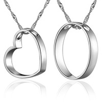 Factory direct / Hotsale Fashion free shipping Lovers heart circle necklace 925 sterling silver