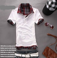 2013 tops cotton Free shipping new summer Korean slim comfort men's shirts collar short sleeve polo T-shirt 4 colors M L XL 2XL