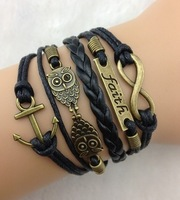3pcs Infinity, Faith ,Anchor and Owls Charm Bracelet in Antique Bronze , Wax Cords Leather Braid Bracelet - Best Chosen Gift 943