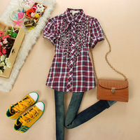 Young girl school wear laciness short-sleeve plaid shirt female shirt fashion preppy style