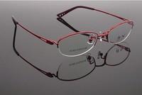 Titanium opticla myopia frame for women half rim 9966 2014 new free shipping metal eyewear high quality Pure Titanium Fashion