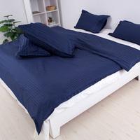 2013 New 80s 100% cotton stripe plaid satin duvet cover pillow case  Dark Blue-3pcs bedding sets