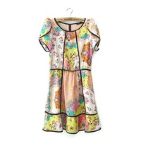 Europe United States 2013 new female spring Vintage Floral waist short sleeve women lady dress free shipping