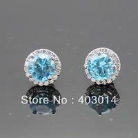 Free Shipping 100% Sterling Silver 8mm Blue Topaz Cubic Zircon Earrings (JR055)