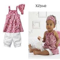2014 Children's Clothing  girls Clothing Sets baby kids girls clothing  suits(pants+Condole clothes+Headdress)3pcs, 5sets/lot