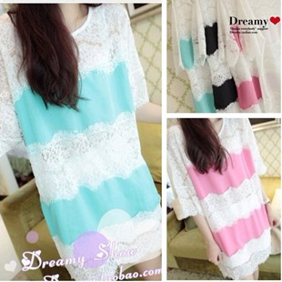 free shipping Eyelash lace chiffon perfect chiffon shirt 3207
