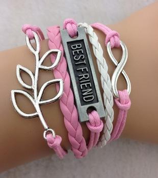 "3pcs Infinity bracelet - leaf bracelet,""best friend"" antique silver,pink bracelet for girls,charm bracelet,vintage style 702(China (Mainland))"