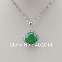 Free Shipping Sterling Silver 11mm Round Green Jade CZ Pendant  Jewelry (PSJ025)