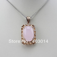 Free Shipping Rose Gold Plated Sterling Silver 14x20mm Rose Quartz Pendant Jewelry (PSJ0180)