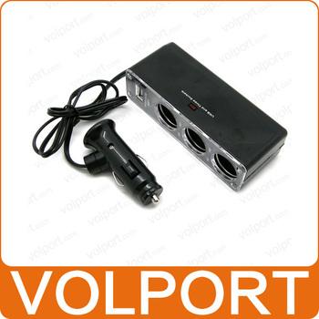 Free Shipping 2pcs/lot 3 Way Car Cigarette Lighter Socket Splitter 12V Charger Power Adapter Plug DC 12V Triple Socket USB