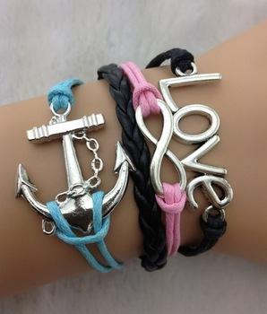 3pcs Multilayer Bracelet - Antique silver infinity bracelet, anchor bracelet, love bracelet, black braid - 616 min order 10$(China (Mainland))