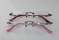 Pure Titanium Metal opticla myopia Diamond frame for women rimless 1023 2014 new free shipping metal eyewear new arrival