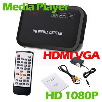 Full HD 1080P Media Player Center RM/RMVB/AVI/MPEG Multi Media Video Player with HDMI YPbPr VGA AV USB SD/MMC Port Remote