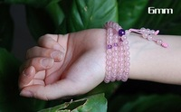 Natural 108 Grains Rose Quartz Match Amethyst Crystal Bracelet Fashion  Female,Maintain Beauty And Keep Young,Bring Love To You