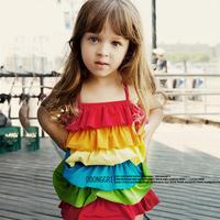 Gilr Swimwear child swimwear lotus leaf one piece female child swimwear rainbow baby swimwear