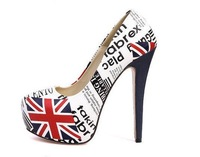 MY128-31 Free Shipping Party Fashion Sexy Lady Women's UK Flag Shoes Platform Pumps Stiletto High Heels red button Shoes