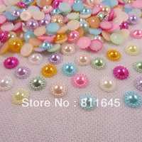 Free Shipping wholesale 12mm 12 color mix colour flower imitation Pearls Flat back DIY(1000pcs/lot)