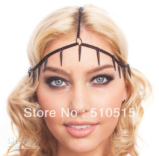Black Spike Matte Chain Goth Hair Piece Accessory Head band Headpiece(China (Mainland))