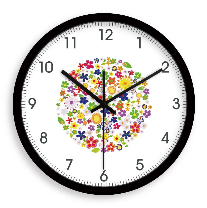 2013 New Listing Hot Wall clock rhythm core super mute clock rustic small flower free shipping(China (Mainland))