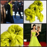 Scarf female spring and summer scarf cape dual-use ultra long silk scarf sun cape neon yellow silk scarf mulberry silk