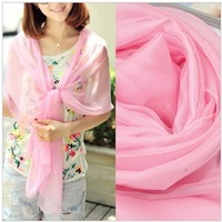Spring and summer scarf cape dual-use ultra long silk scarf mulberry silk sun-shading sunscreen cape pink beach towel female