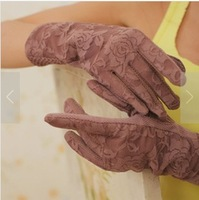 Double layer lace 100% cotton short design professional anti-uv driving gloves female summer sunscreen gloves