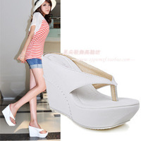 White beach flip-flop flip flops ultra high heels platform wedges women's plus size shoes 40 - 43 slippers