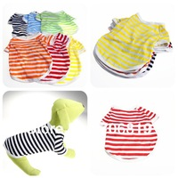 New Arrival !! (free shipping) Dog Clothes Stripes Shirt for Pet Polo Tshirt Red/Yellow/Blue/Green/Orange/Black