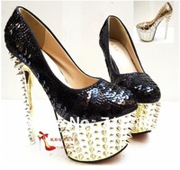 Super-high heels platform glitter sequined dress sexy heels 16 cm free delivery pump