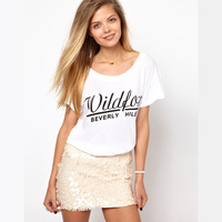 2013 New haoduoyi fashion Wildfox Beverley Hills Beverly Hills big round neck loose short-sleeved T-shirt free shipping